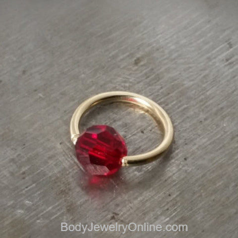 Captive Bead Ring w/ RED Round Swarovski Crystal - 14 ga Hoop - 14k Gold (Y, W, or R), Sterling Silver, or Platinum