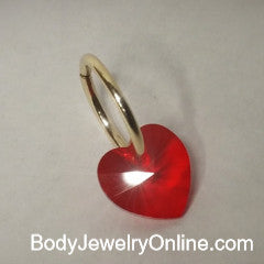 Valentines Belly Hoop w/ Swarovski Red Crystal Heart - 16 ga Hoop - 14k Gold (Y, W, or R), Sterling Silver, or Platinum
