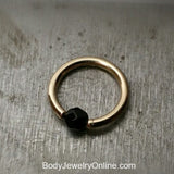 Onyx Faceted Captive Bead Ring - 14 ga Hoop - 14k Gold (Y, W, or R), Sterling Silver, or Platinum