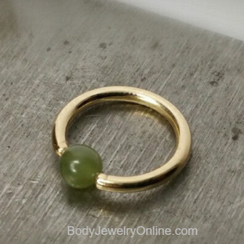 Jade Captive Bead Ring - 16 ga Hoop - 14k Gold (Y, W, or R), Sterling Silver, or Platinum