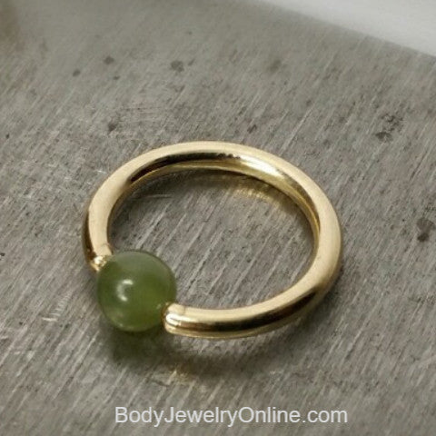 Jade Captive Bead Ring - 14 ga Hoop - 14k Gold (Y, W, or R), Sterling Silver, or Platinum