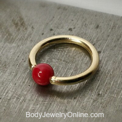 4mm Bamboo Coral Captive Bead Ring - 14 ga Hoop - 14k Gold (Y, W, or R), Sterling Silver, or Platinum
