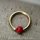 4mm Bamboo Coral Captive Bead Ring - 16ga Hoop - 14k Gold (Y, W, or R), Sterling Silver, or Platinum