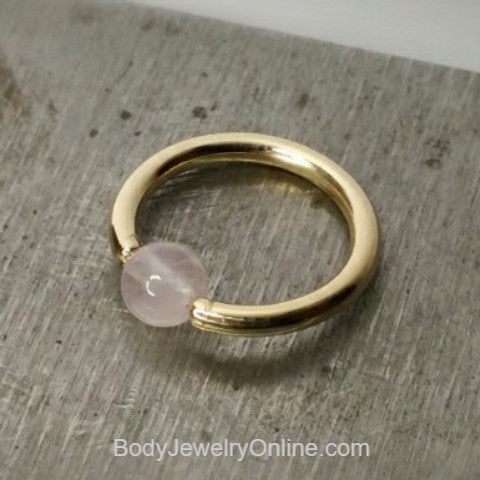Rose Quartz Captive Bead Ring - 16 ga Hoop - 14k Gold (Y, W, or R), Sterling Silver, or Platinum