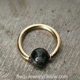 Quartz / Tourmaline Dark Captive Bead Ring - 14 ga Hoop - 14k Gold (Y, W, or R), Sterling Silver, or Platinum