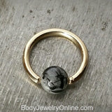 Quartz / Tourmaline Medium Captive Bead Ring - 16 gauge Hoop - 14k Gold (Y, W, or R), Sterling Silver, or Platinum
