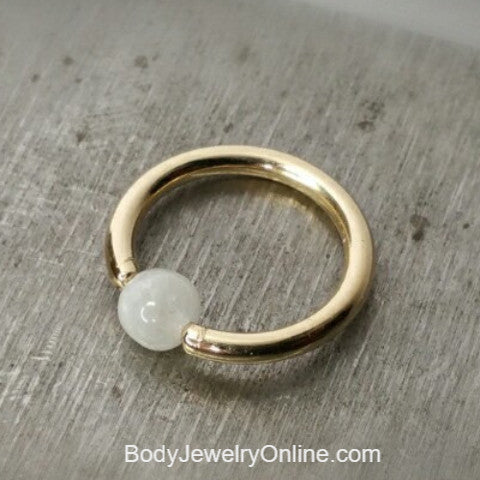 Moonstone Captive Bead Ring -16 ga Hoop - 14k Gold (Y, W, or R), Sterling Silver, or Platinum
