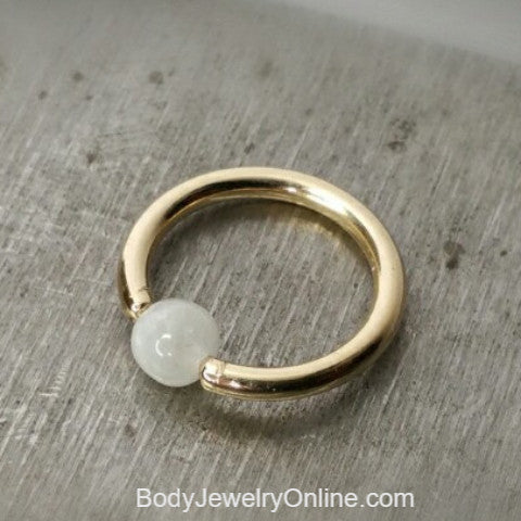 Moonstone Captive Bead Ring -14 ga Hoop - 14k Gold (Y, W, or R), Sterling Silver, or Platinum