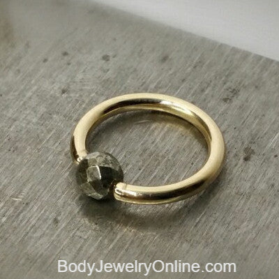 Pyrite Faceted Captive Bead Ring - 14 ga Hoop - 14k Gold (Y, W, or R), Sterling Silver, or Platinum