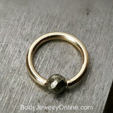 Pyrite Faceted Captive Bead Ring - 16 ga Hoop - 14k Gold (Y, W, or R), Sterling Silver, or Platinum