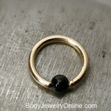 Onyx Smooth Captive Bead Ring - 16 ga Hoop - 14k Gold (Y, W, or R), Sterling Silver, or Platinum