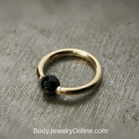 Onyx Faceted Captive Bead Ring - 16 ga Hoop - 14k Gold (Y, W, or R), Sterling Silver, or Platinum