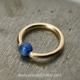 Lapis Captive Bead Ring - 14 ga Hoop - 14k Gold (Y, W, or R), Sterling Silver, or Platinum