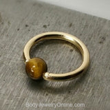 Tiger's Eye Captive Bead Ring - 12 ga Hoop - 14k Gold (Y, W, or R), Sterling Silver, or Platinum