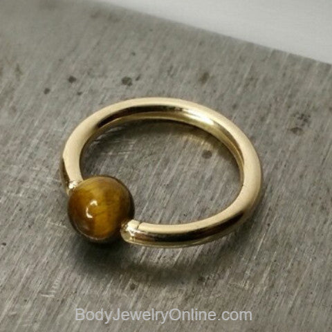 Tiger's Eye Captive Bead Ring - 14 ga Hoop - 14k Gold (Y, W, or R), Sterling Silver, or Platinum