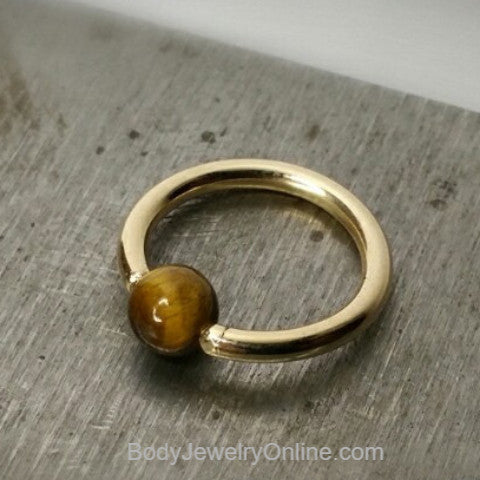 Tiger's Eye Captive Bead Ring - 16 ga Hoop - 14k Gold (Y, W, or R), Sterling Silver, or Platinum