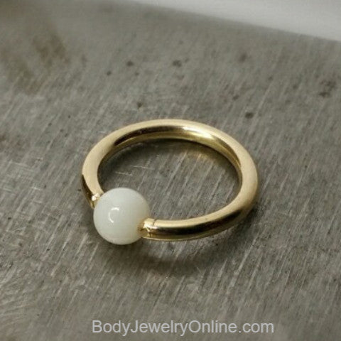 White Agate Captive Bead Ring - 14 ga Hoop - 14k Gold (Y, W, or R), Sterling Silver, or Platinum