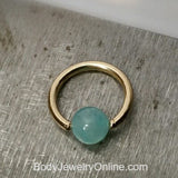4mm Amazonite Captive Bead Ring - 14 ga Hoop - 14k Gold (Y, W, or R), Sterling Silver, or Platinum