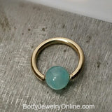 4mm Amazonite Captive Bead Ring - 16 ga Hoop - 14k Gold (Y, W, or R), Sterling Silver, or Platinum