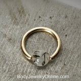 Quartz / Tourmaline Light Captive Bead Ring - 16 ga Hoop - 14k Gold (Y, W, or R), Sterling Silver, or Platinum