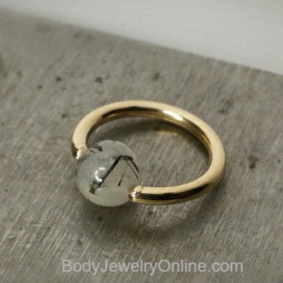 Quartz / Tourmaline Light Captive Bead Ring - 14 ga Hoop - 14k Gold (Y, W, or R), Sterling Silver, or Platinum