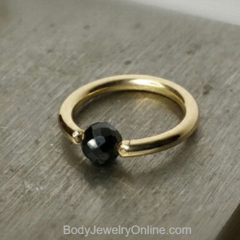Spinal Faceted Captive Bead Ring - 16 ga Hoop - 14k Gold (Y, W, or R), Sterling Silver, or Platinum