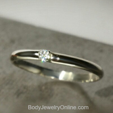 Genuine DIAMOND VS Engagement / Wedding Ring - 14k Gold or Sterling Silver - 2mm Plain Band