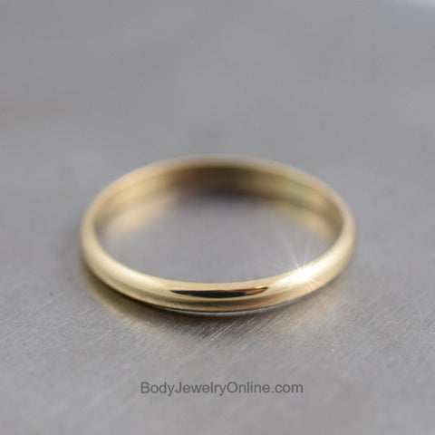 14k SOLID Yellow Gold Wedding Band Ring 2mm Shiny Minimalist