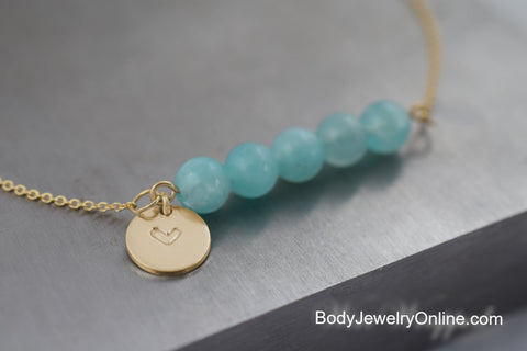 Real Amazonite Stamped Necklace - 14k SOLID Gold or GF or Sterling Silver Initial / Heart Beaded Necklace CUSTOMIZE Initial Necklace Unique