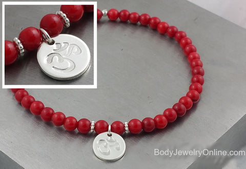 OM Symbol Sterling Silver & Red Coral Bracelet - Stamped Initial Beaded Bracelet - CUSTOMIZABLE - Stretchy Hindu Bracelet- Unique Boho Gift