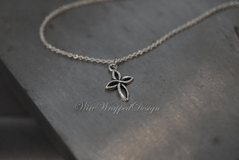 CROSS Necklace - 925 Sterling Silver - Loop Small Cross Necklace - Tiny Cross Necklace - Religious Christian Fine Jewelry - Sterling Silver