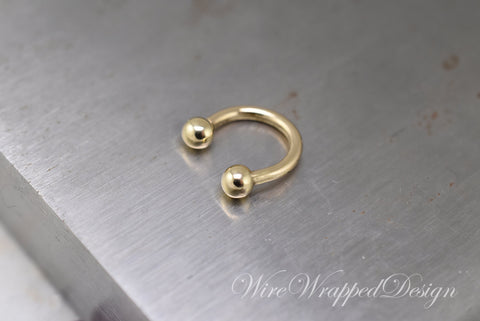 Horseshoe 14k Gold Septum Ring 14k Yellow or White Gold 16 gauge 16g 14k Gold Septum Horseshoe Hoop Bull Ring, Eyebrow, Tragus, Nose, Nipple
