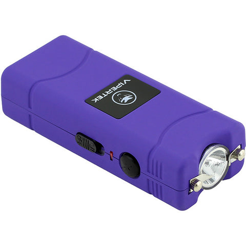 VIPERTEK VTS-881 - 100,000,000 Micro Stun Gun - Rechargeable with LED Flashlight, Purple