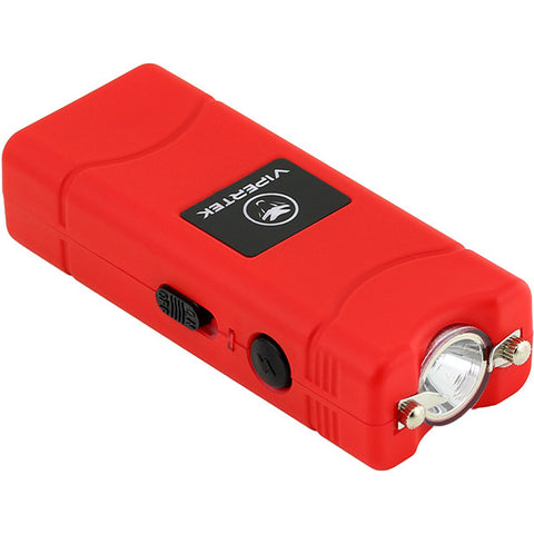 VIPERTEK VTS-881 - 100,000,000 Micro Stun Gun - Rechargeable with LED Flashlight, Red