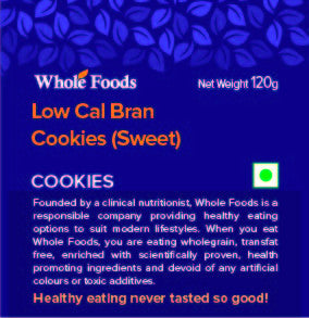 Low Cal Bran Cookies Sweet (Eggless)