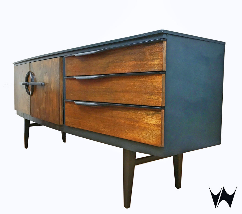 Mid century teak long sideboard drinks cabinet