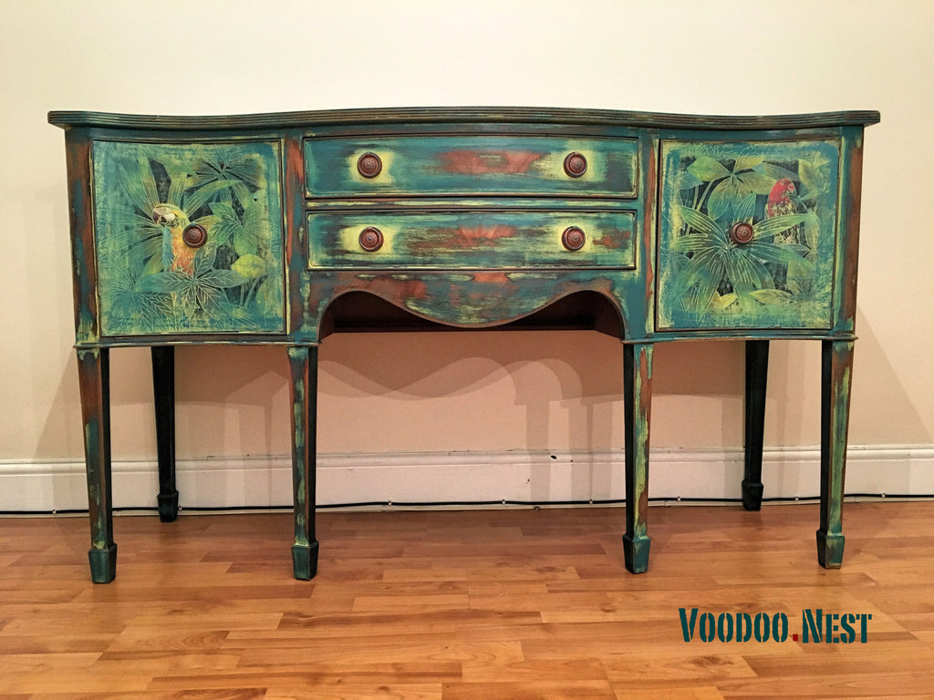 Attractive Upcycled Regency Georgian Style Sideboard Buffet Cabinet   Yellow Shabby  Chic