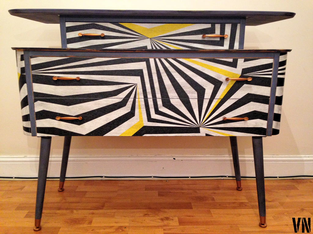 Vintage Chest Of Drawers Sideboard Geometric Pattern