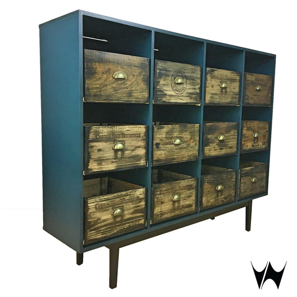 Record Cabinet 12 Drawers Vinyl Storage Unit Reclaimed