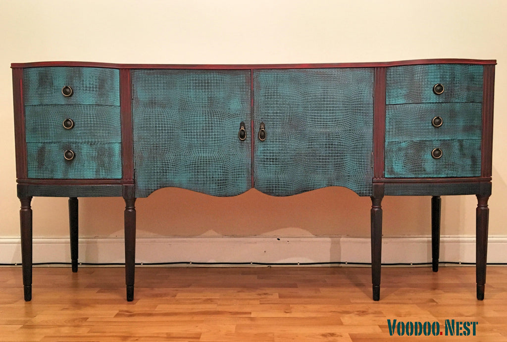 Solid wood Regency style sideboard buffet cabinet - Peacock & Red ...