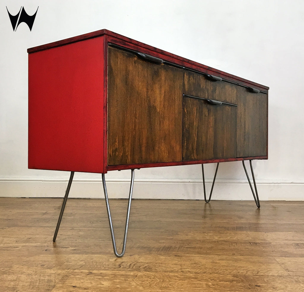 the latest 9e805 ae5c6 Mid-Century red sideboard media unit record cabinet
