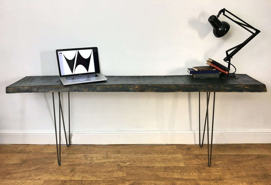 Live Edge Wood Slab Industrial Console Table Entrance Hall Desk On Hairpin  Legs