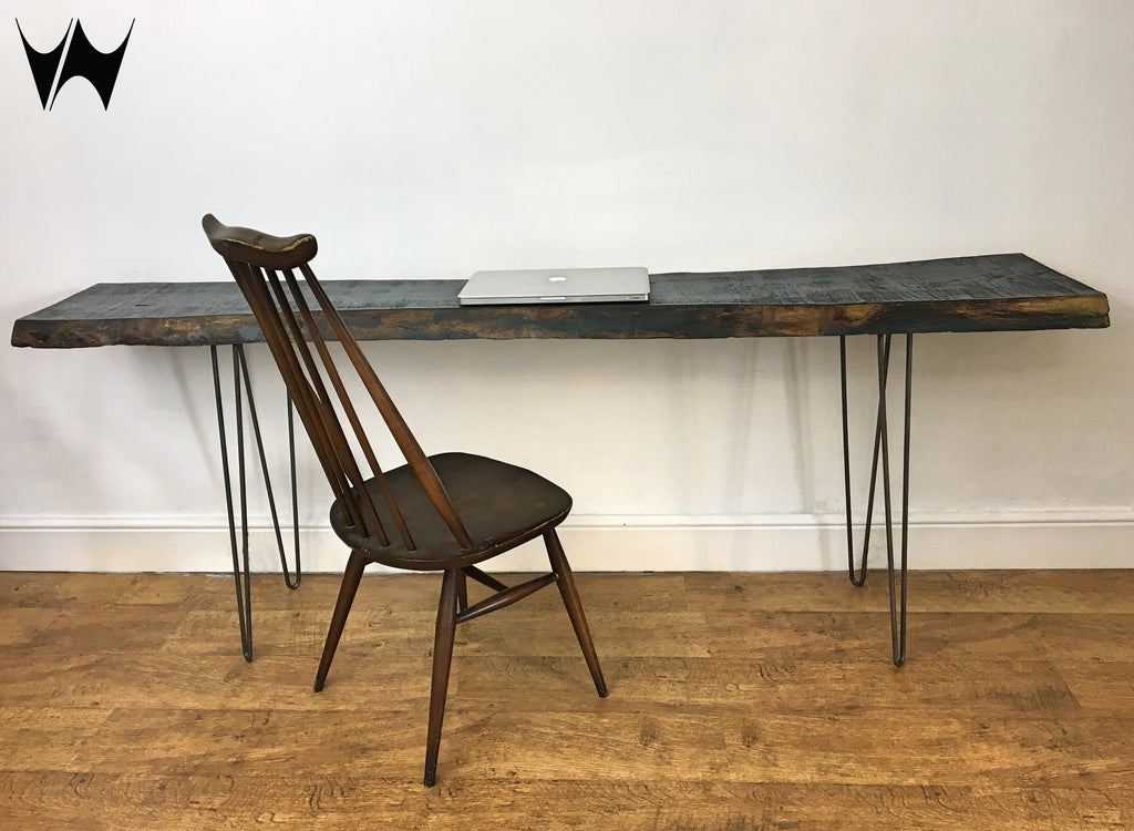 ... Live Edge Wood Slab Industrial Console Table Entrance Hall Desk On  Hairpin Legs ...