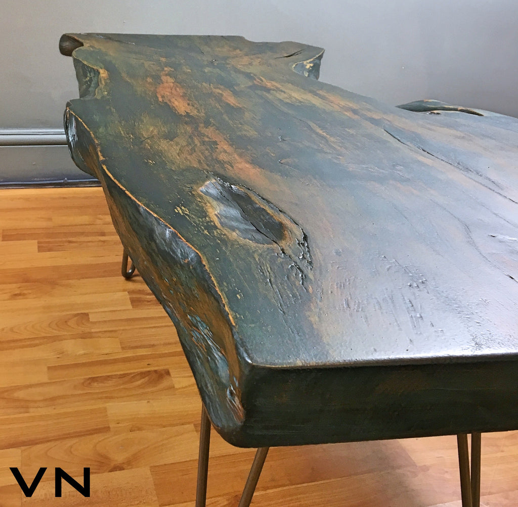 Vintage Industrial Live Edge Walnut Slab Coffee Table: Live Edge Wood Slab Coffee Table On Industrial Hairpin