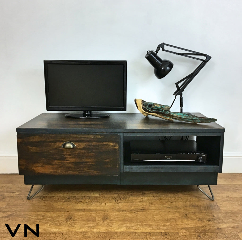 Media Unit / Tv Cabinet Stand Low Sideboard Table Industrial