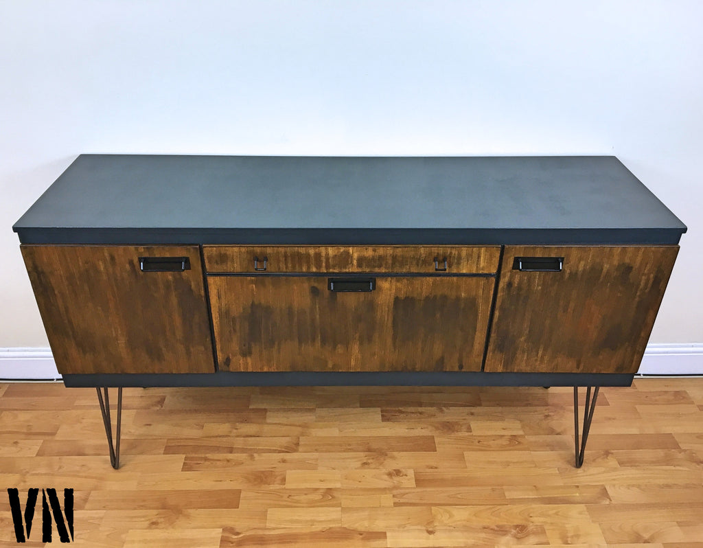 Sideboard Industrial teak sideboard drinks record cabinet on hairpin legs voodoonest