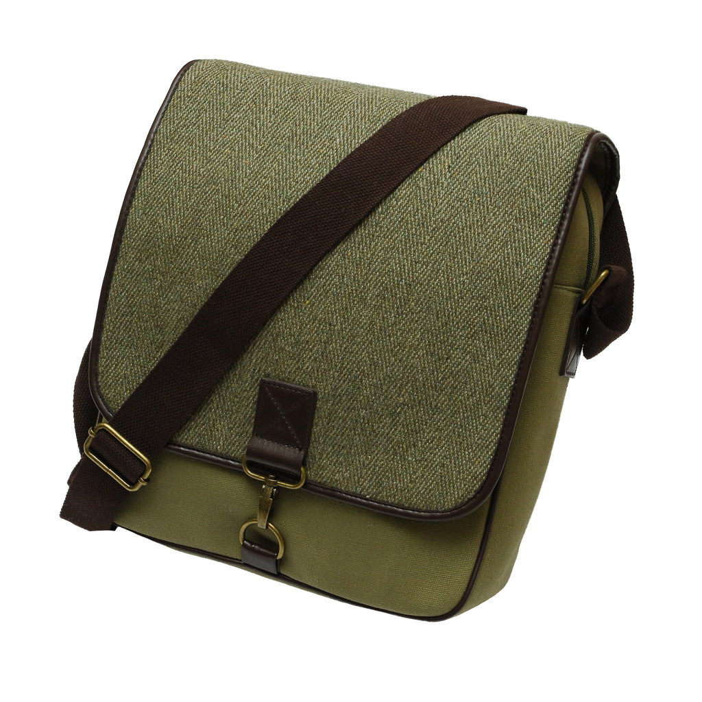 Heather Accessories Radcliffe Derby Tweed/Canvas Messenger Bag - light green
