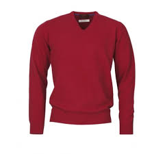 Laksen Yates V- Neck Brick Red Sweater