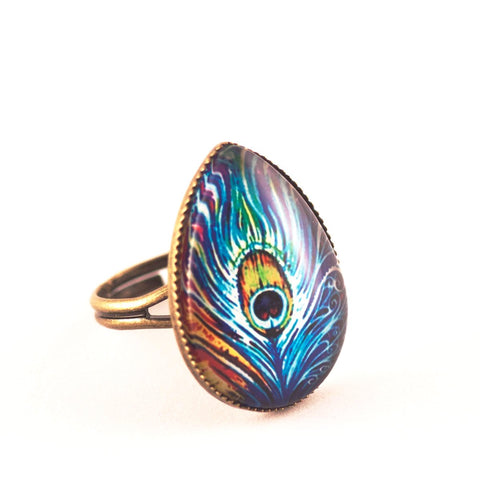 Anillo Cristal Pavo Real