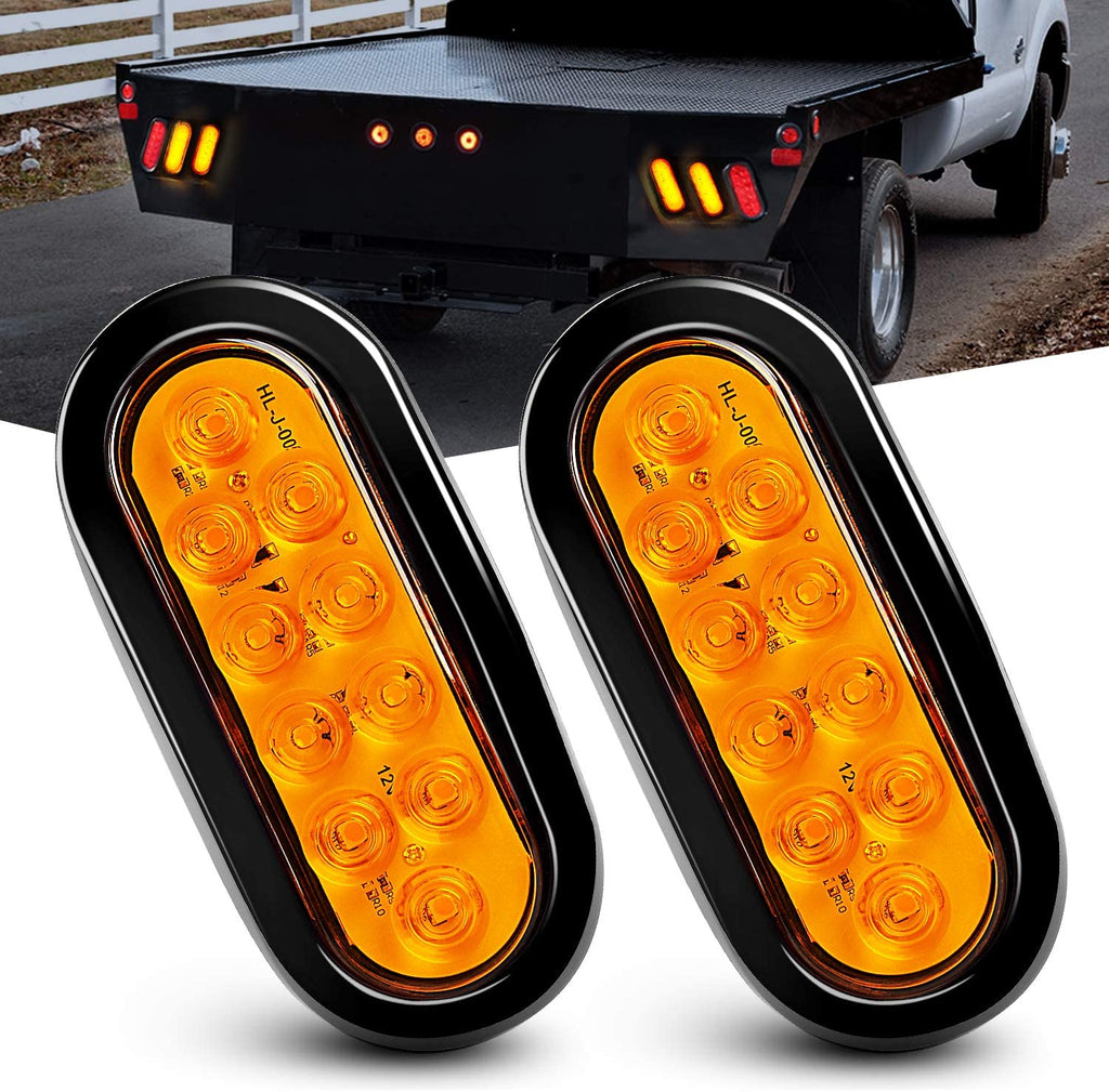 "Vaxxian 6"" Oval Amber LED Trailer  Tail lights for vehicles"